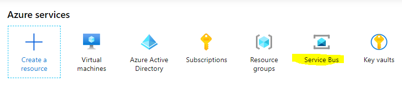 Machine generated alternative text: Azure services  Create a  resource  Virtual  machines  Azure Active  Directory  Subscriptions  Resource  groups  Service Bus  Key vaults
